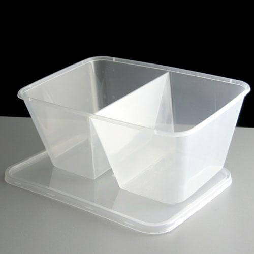 2 Compartment 1000cc Clear Rectangular Plastic Container