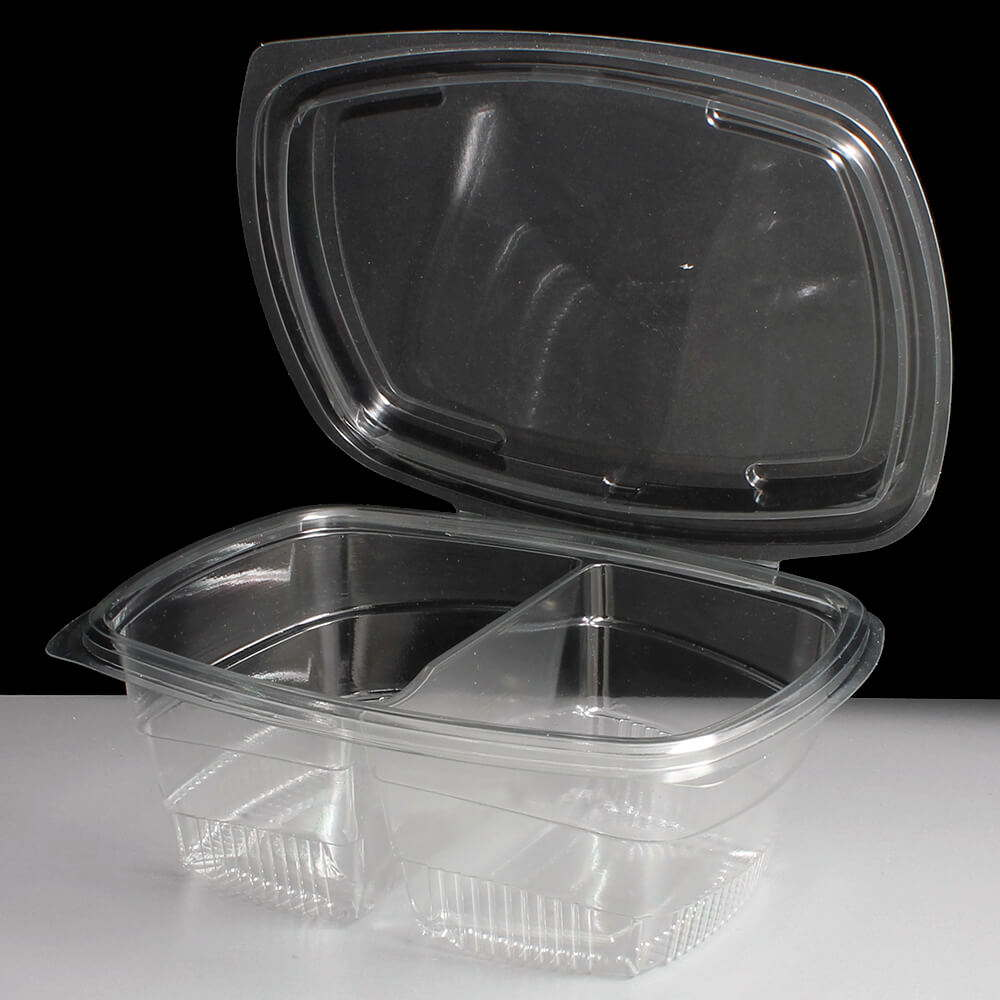 800cc Clear Two Compartment Plastic Salad Containers