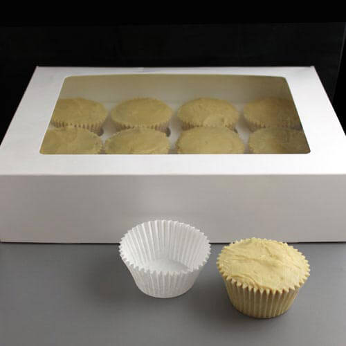 White Windowed Cupcake Boxes White Windowed Cupcake