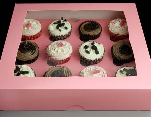 Pink Windowed Cupcake Boxes With 12 Cavity Insert