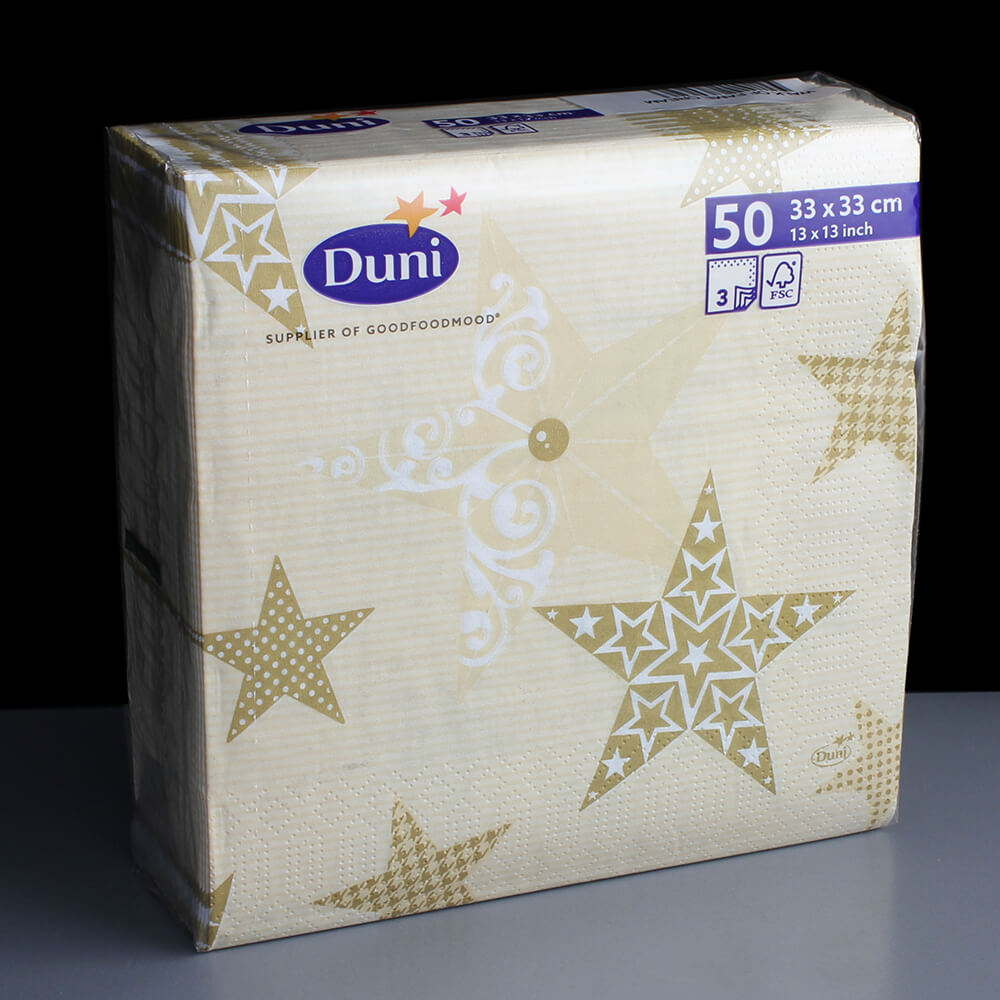 3 Ply Cream Walk Of Fame Christmas Napkins Serviettes