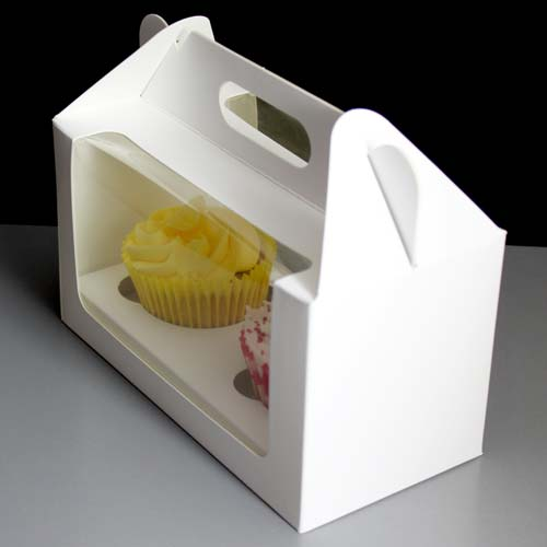 Windowed Cupcake Boxes With 2 Cavity Insert Handle Top