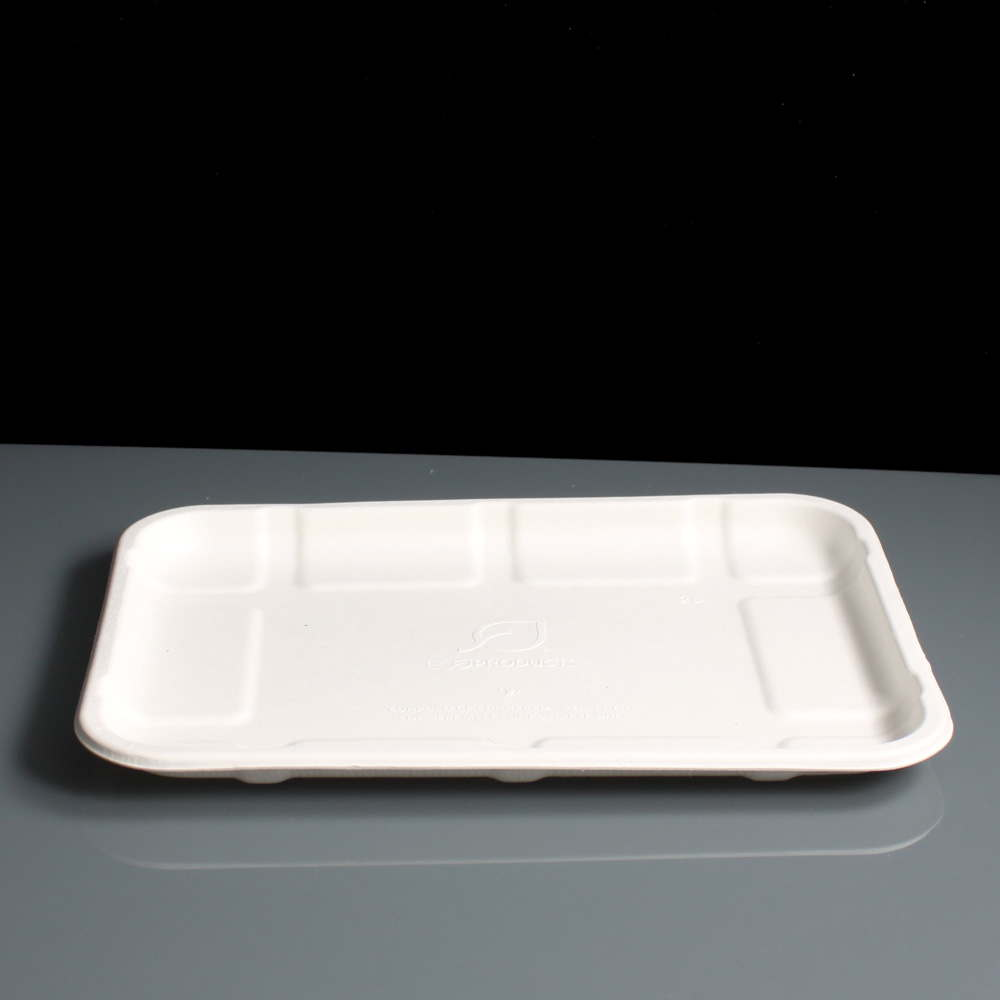 No 2s Shallow Compostable Bagasse Meat Tray