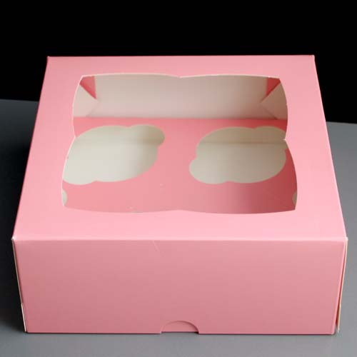 White Windowed Cupcake Boxes Pink Windowed Cupcake Boxes