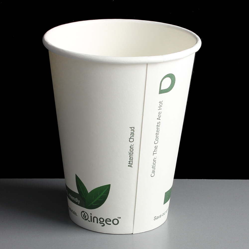 12oz Compostable Coffee Cups (ingeo) Bundle with Matching Biodegradable Lid