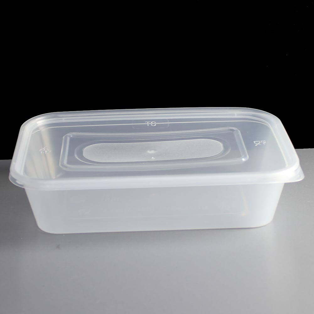 500cc Clear Rectangular Plastic Container And Lid