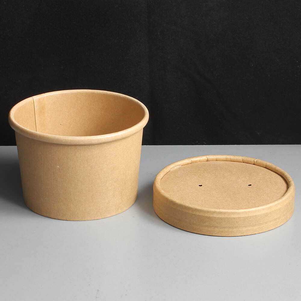 8oz Brown Biodegradable Paper Soup Container And Lid