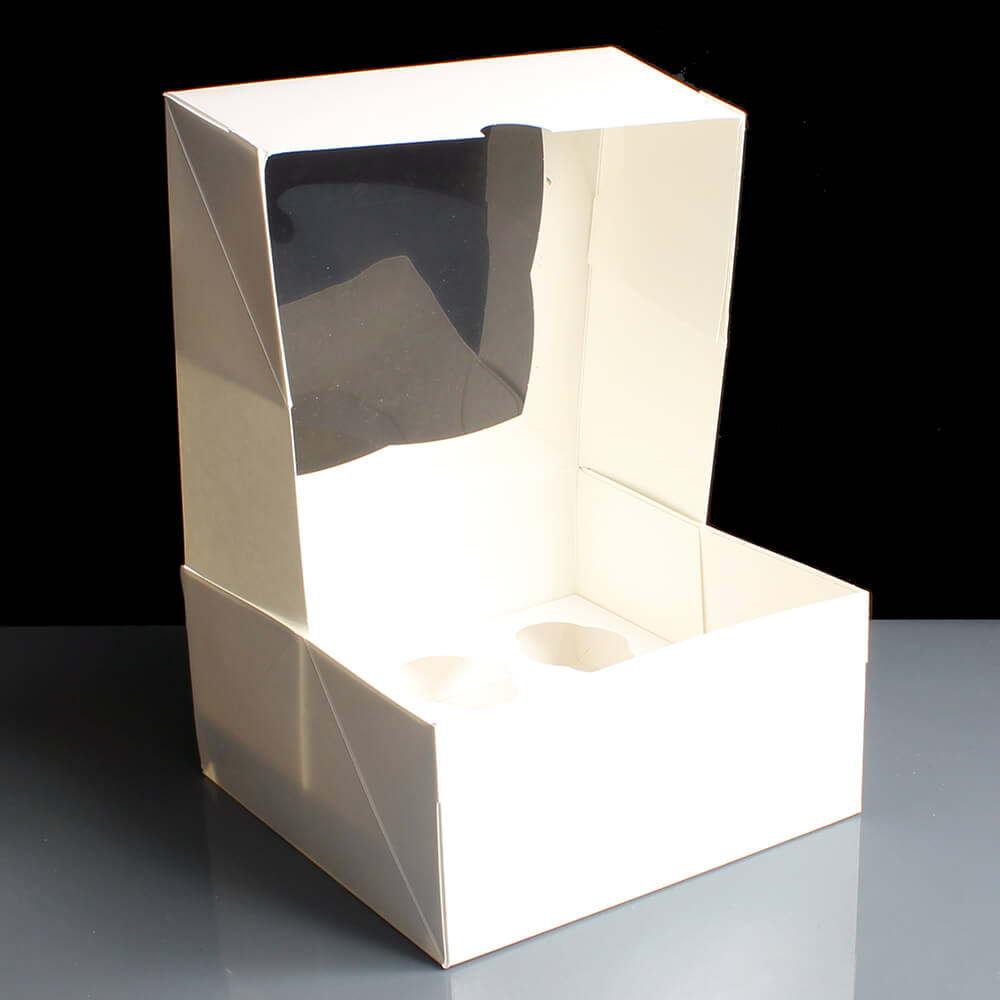 White 6 Cavity Mini Cupcake Boxes With Film Window 100