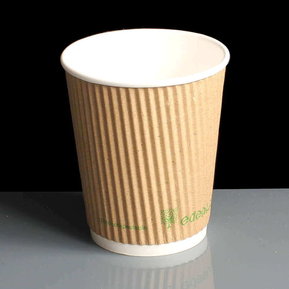 8oz Kraft Triple Ripple PLA Compostable Hot Drink Paper Coffee Cup