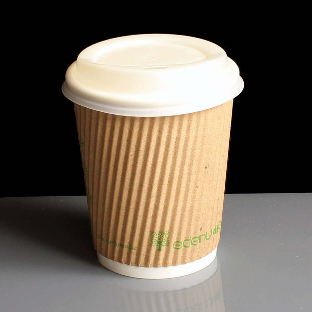 8oz Edenware Triple Ripple PLA Compostable Hot Drink Paper Coffee Cup