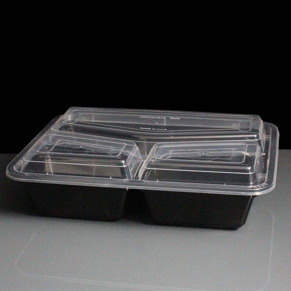 Bbmc3c Three Compartment Black Plastic Container And
