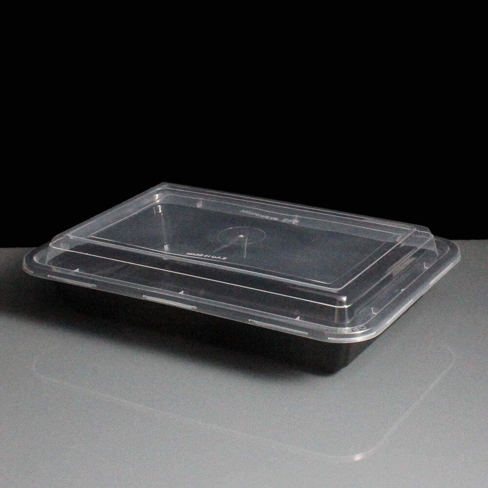 Bbre28 28oz Black Plastic Container And Optional Lid