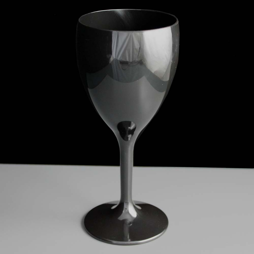 Black Plastic Wine Glasses