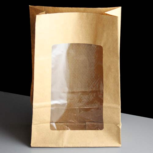 Best 150x220x70mm BROWN Film Lined Deli Bag w. Window: Box of 250 XD71