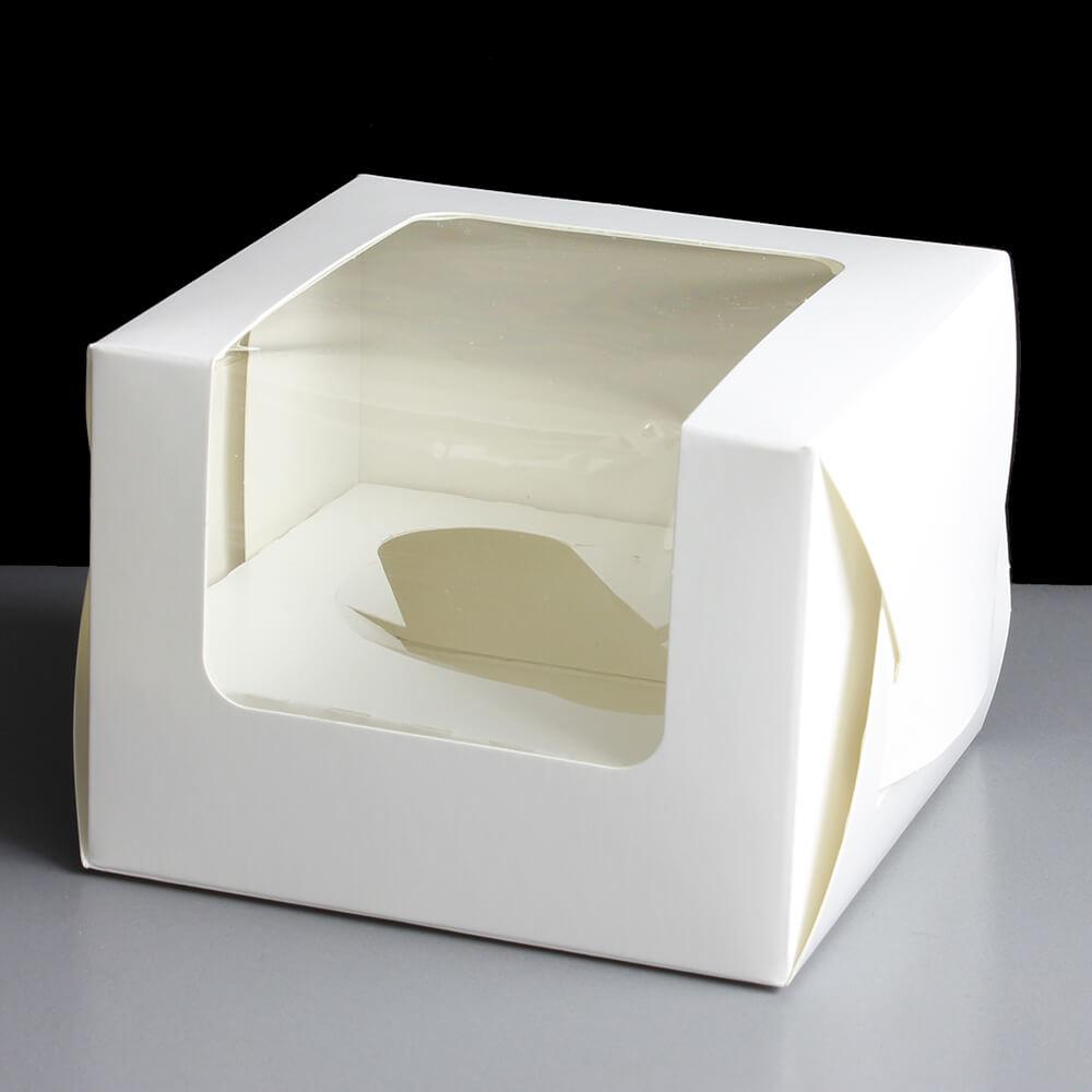 White Windowed Single Cupcake Cube Boxes 25