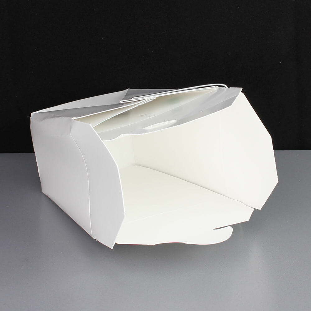 Small White 16oz Noodle Box With Wire Handle