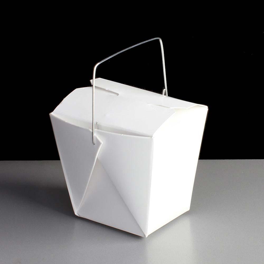 Mini White 8oz Noodle Box With Wire Handle