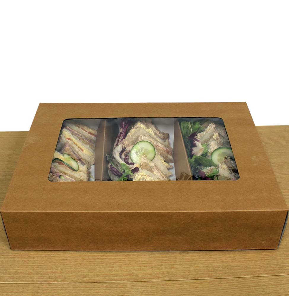 Large Brown Kraft Sandwich Platter Box With Tray Amp Inserts