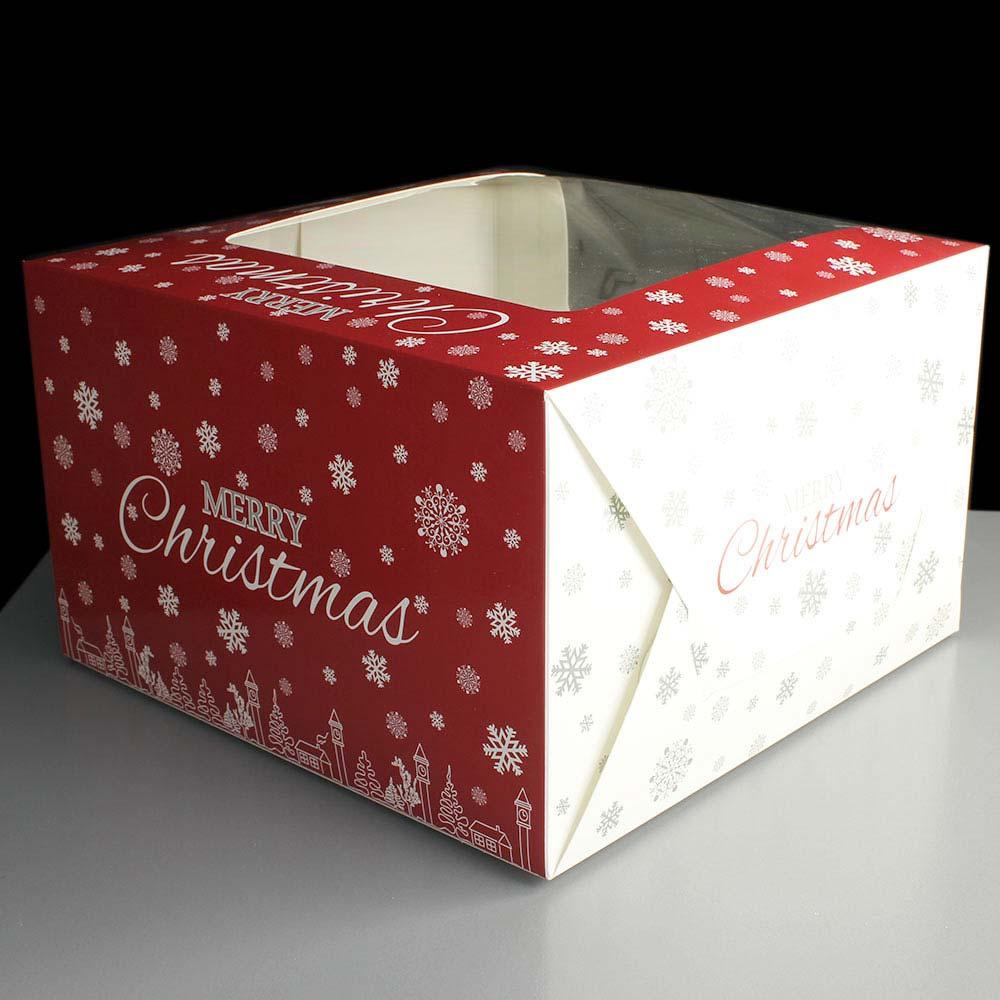 Christmas Cake Packaging Ideas : Premium Windowed Christmas SNOWFLAKE Cake Boxes 6x6x4