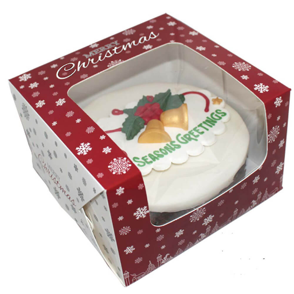 Cake Ideas From Cake Box : Premium Windowed Christmas SNOWFLAKE Cake Boxes 6x6x4