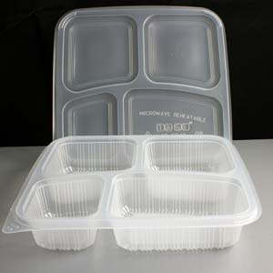 Clear 4 Compartment Square Plastic Container And Lid