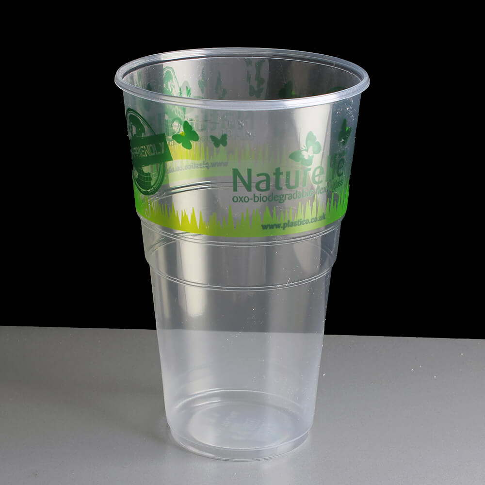 Biodegradable plastic pint glass naturelle printed ce for Glass or acrylic