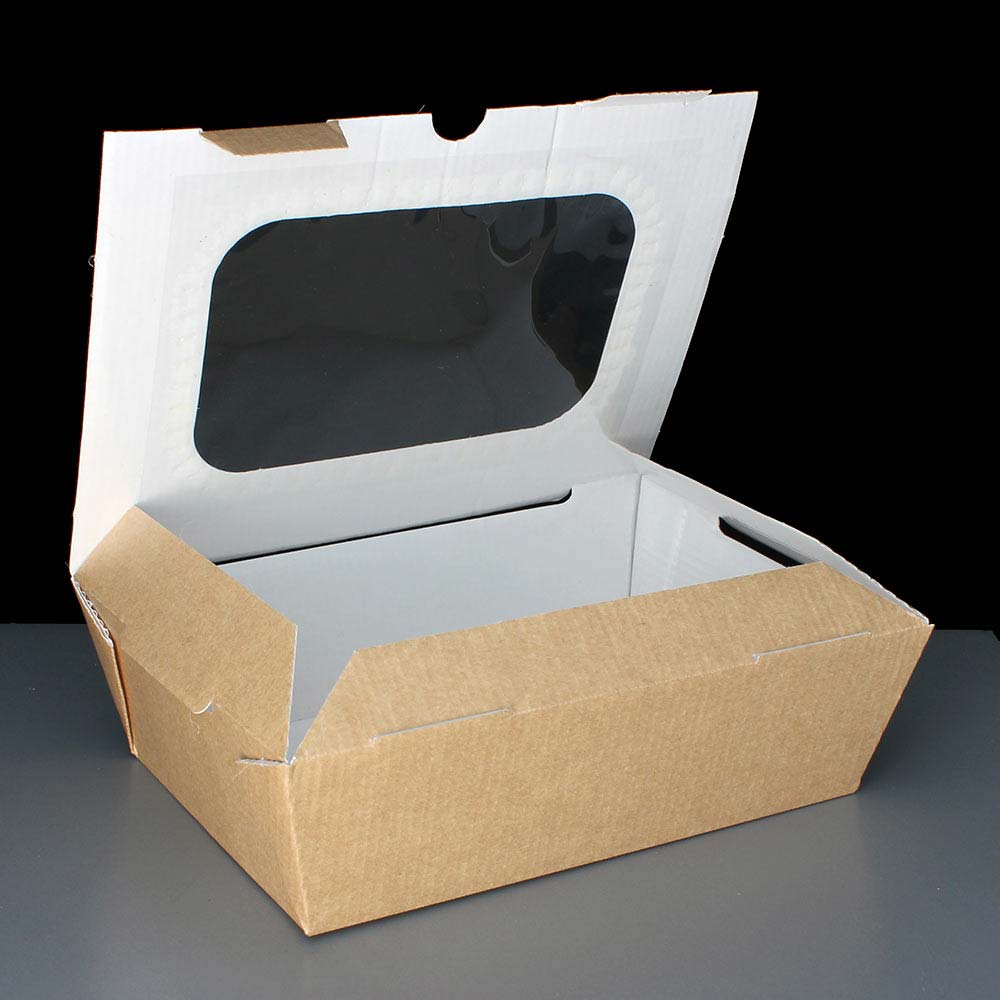 Large Food To Go Taste Boxes - Brown with Window - 48oz (180)