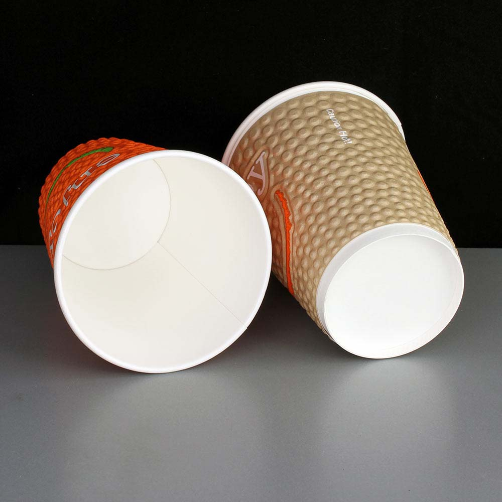 12oz Enjoy Embossed Insulated Paper Coffee Cup