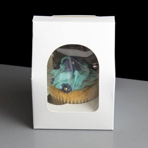 White Windowed Cupcake Boxes White Windowed Single Cupcake