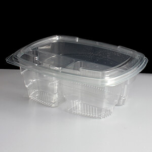 750cc Clear Three Compartment Plastic Salad Containers