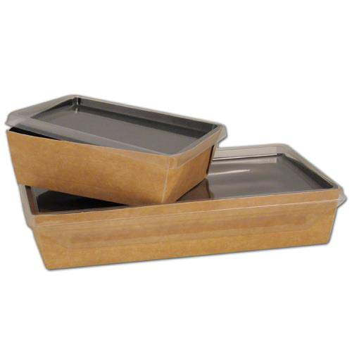 Small coalesce kraft container and hinged plastic lid 500ml for Decor 500ml container
