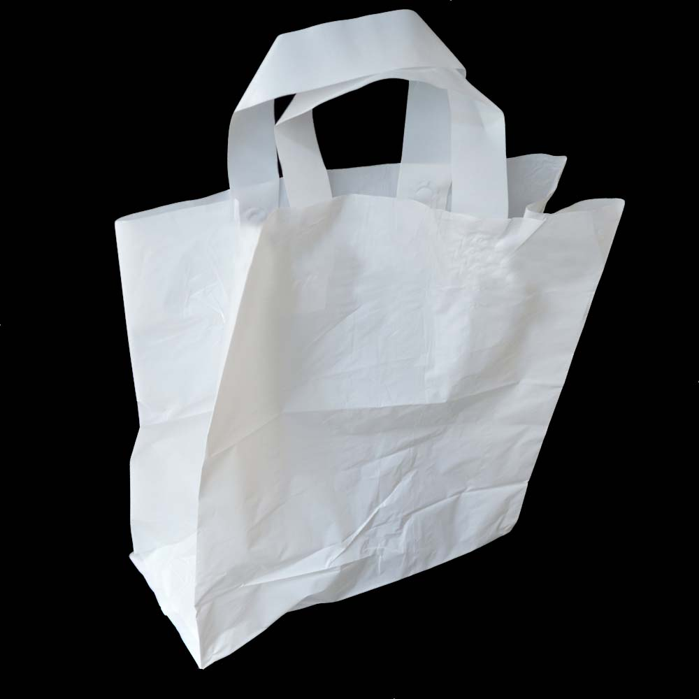 White Large Plastic SOS Handled Bag