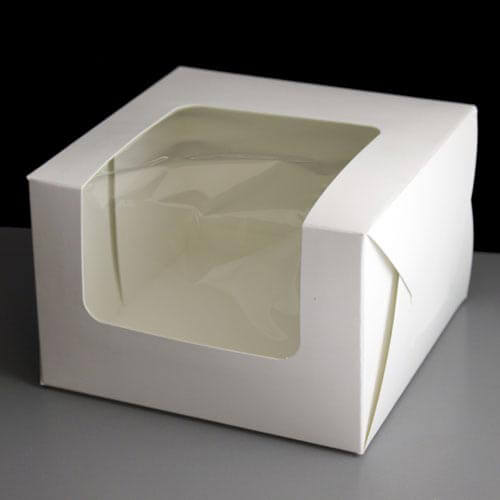 windowed cake boxes plain 6x6x4 pack of 50