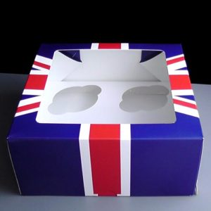 Union Jack 4 Cavity Cupcake Boxes
