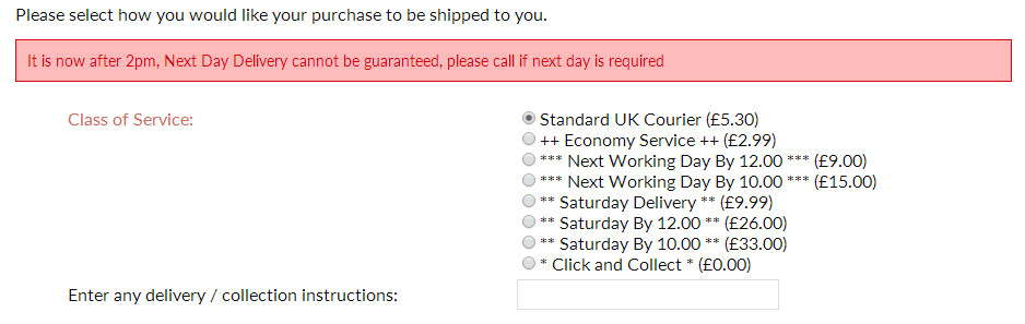 Mainland UK Delivery Options