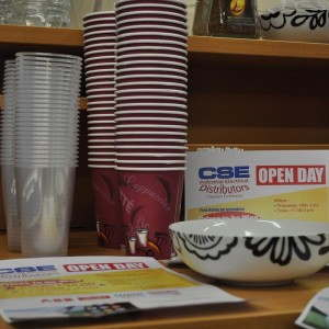 CSE Open Day Paper Coffee Cups and Plastic Half Pints