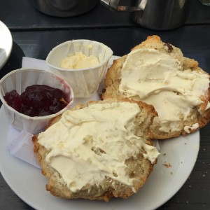 Cream tea with paper sauce pot