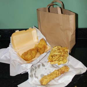 Fish and chips take away packaging
