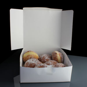 Cake box doughnuts open