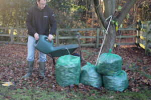 Add water to aid the mulching process
