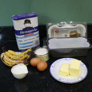 Banana loaf cake ingredients
