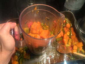 Blending the vegetables for soup