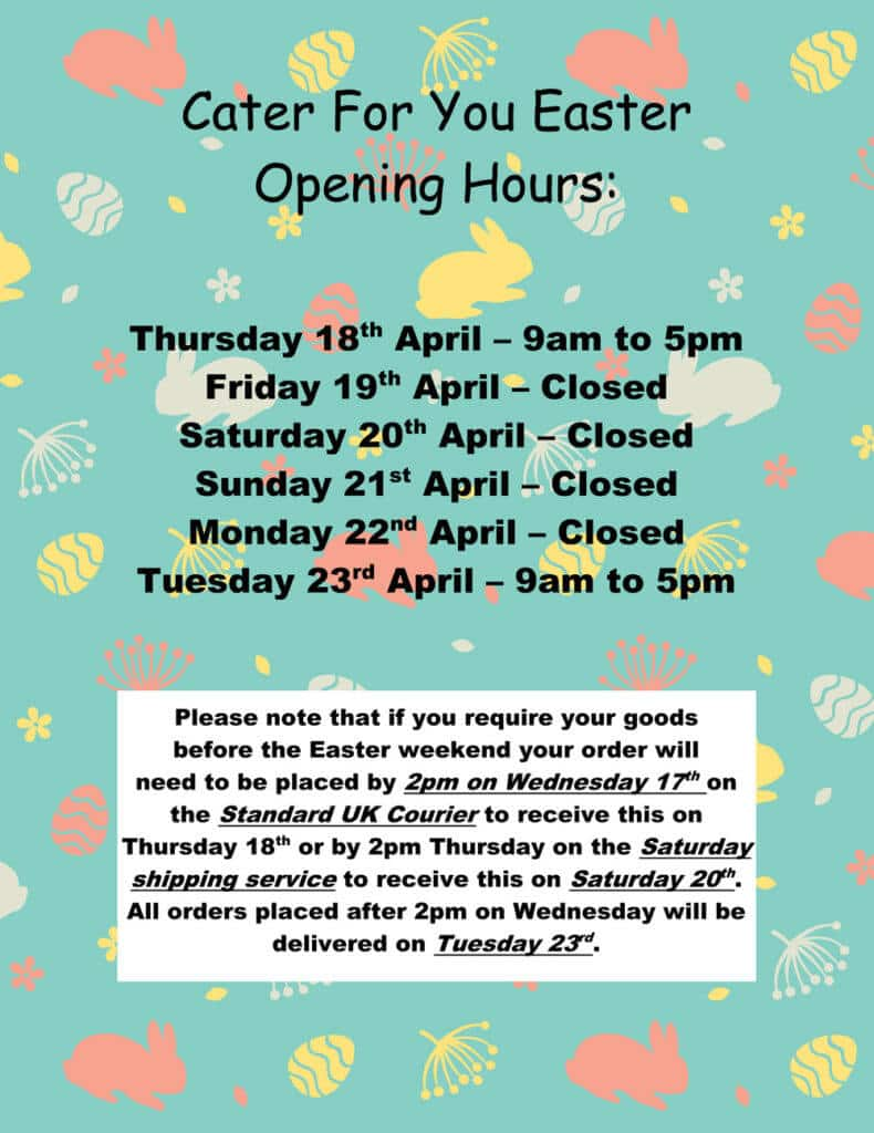 Cater For You Opening Hours 2019
