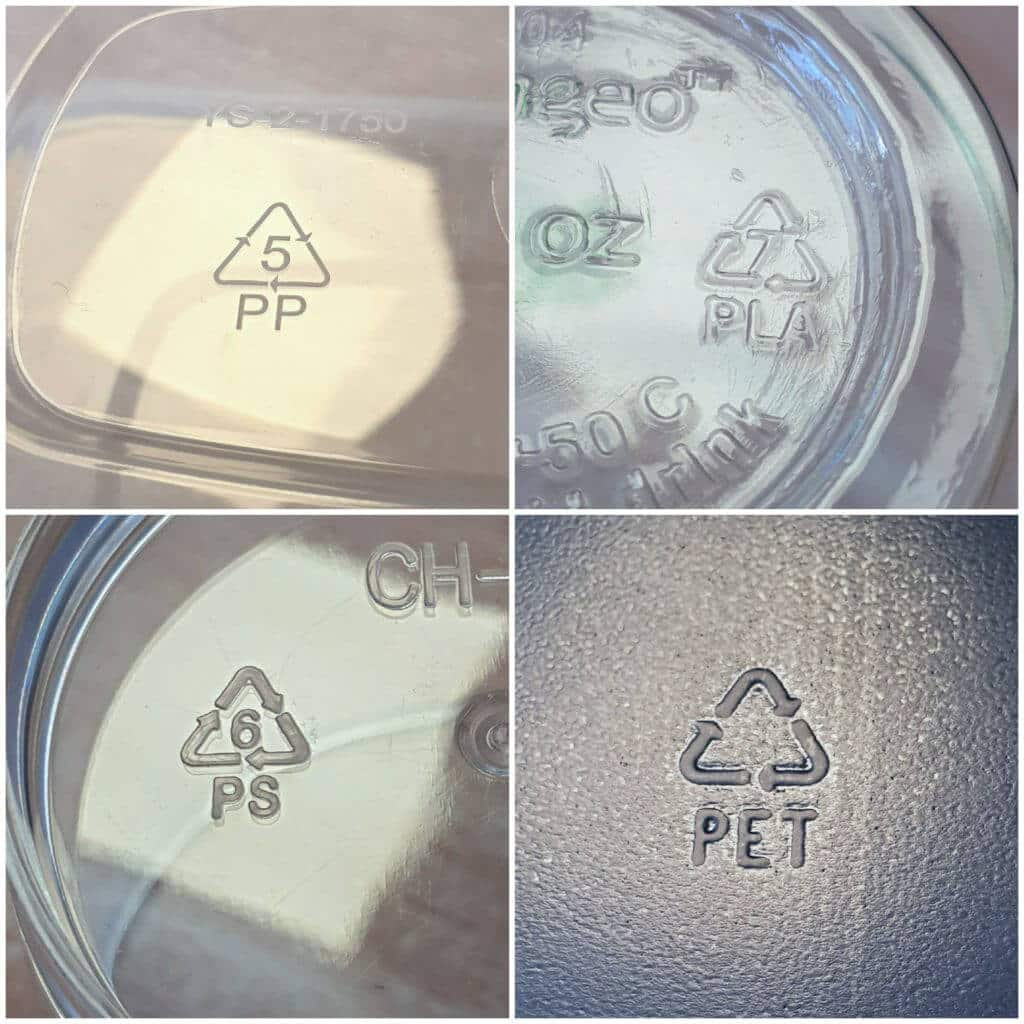 Recycling Logos on our Plastic Glasses and Food Packaging