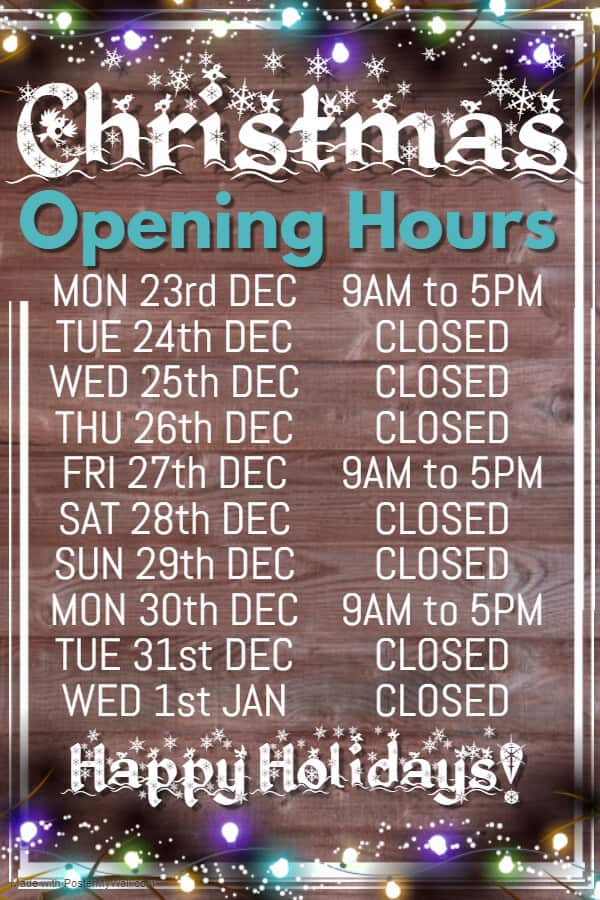 Cater For You Christmas Opening Hours 2019-20