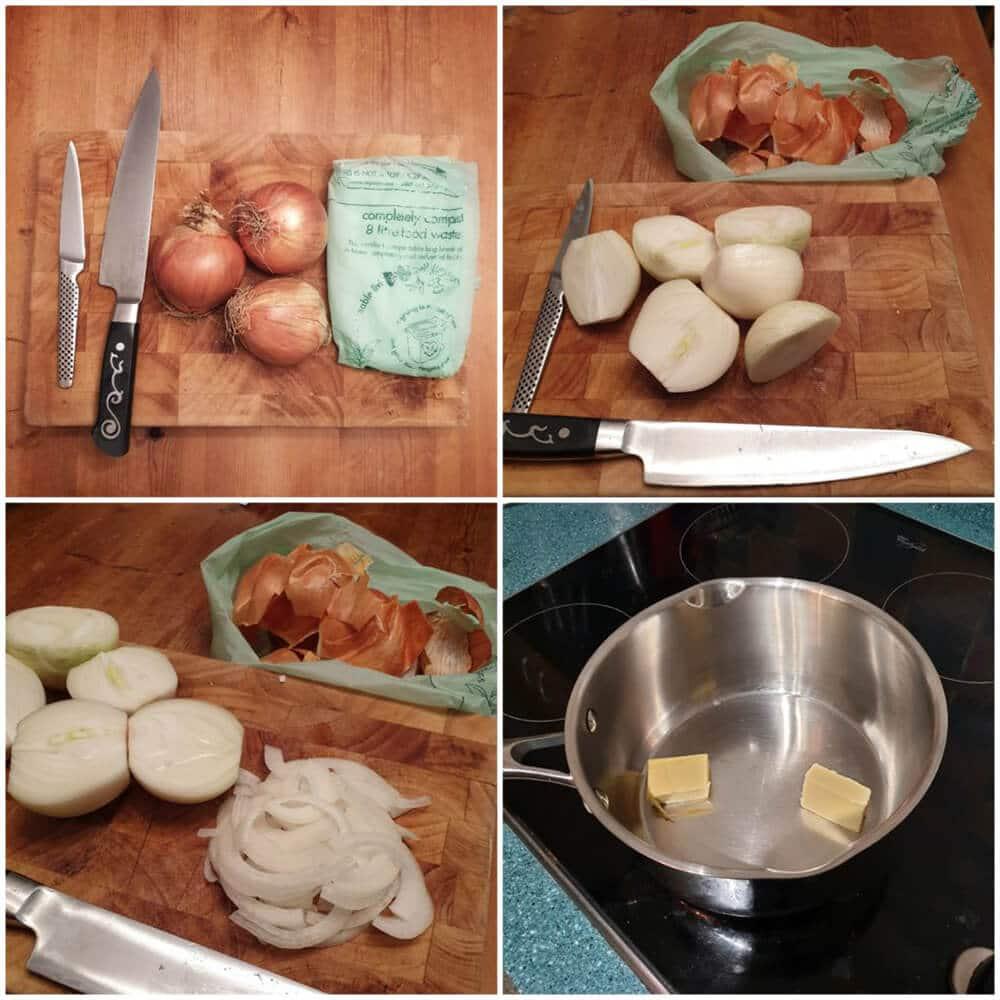 Preparing the works breakfast and ingredients